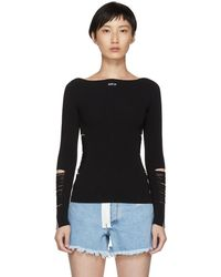 Off-White c/o Virgil Abloh - Black Ripped Knit Sweater - Lyst