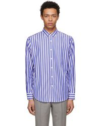 AMI - Ssense Exclusive Blue And White Large Stripe Shirt - Lyst