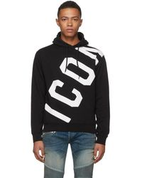 DSquared² - Black Logo Hoodie - Lyst