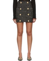 Balmain - Black And White Striped Tweed Skirt - Lyst