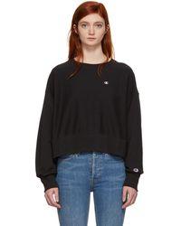 Champion - Black Basic Oversized Small Logo Sweatshirt - Lyst