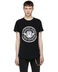 Balmain - Black Logo Coin T-shirt - Lyst