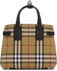 Burberry - Beige Small Banner Check Tote - Lyst
