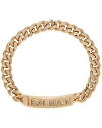 Balmain - Gold Logo Chain Choker Necklace - Lyst