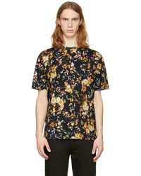 McQ Alexander McQueen | Black Floral Drop Shoulder T-shirt | Lyst