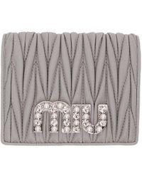 Miu Miu - Grey Quilted Crystal Logo Wallet - Lyst