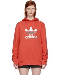 adidas Originals - Orange Trefoil Hoodie - Lyst