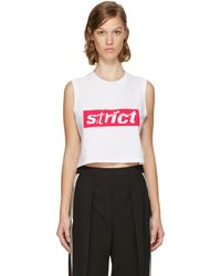 Alexander Wang - White Sleeveless Crewneck Crop 'strict' T-shirt - Lyst