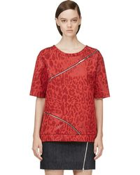 Jay Ahr - Red Jacquard Leopard Zip-trimmed T-shirt - Lyst