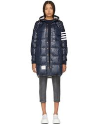 Thom Browne - Navy Down Ripstop 4-bar Hooded Coat - Lyst
