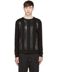 Giuliano Fujiwara - Black Leather Striped Pullover - Lyst