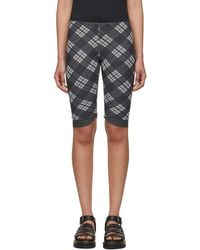 ALEXACHUNG - Grey Mesh Check Biker Shorts - Lyst