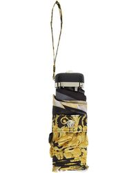 Versace - Black And Gold Barocco Umbrella - Lyst