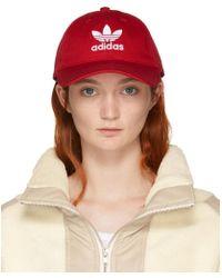 adidas Originals - Red Trefoil Cap - Lyst