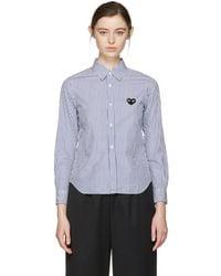 COMME DES GARÇONS PLAY - Blue & White Striped Heart Patch Shirt - Lyst