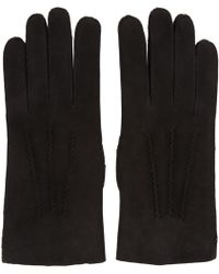 A.P.C. - Black Leather Axel Gloves - Lyst