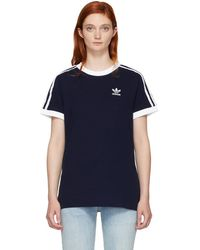 adidas Originals - Navy 3-stripes T-shirt - Lyst