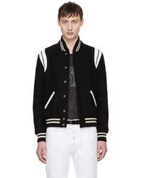 Saint Laurent - Men's Two Band Teddy Bomber Jacket In Black - Lyst