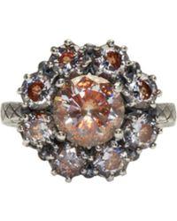 Bottega Veneta | Silver Flowers Zircon Ring | Lyst