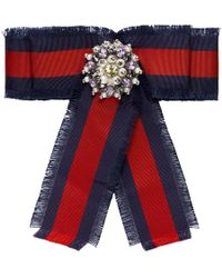 127f3418fe9 Gucci - Red And Navy Grosgrain Stripe Bow Brooch - Lyst