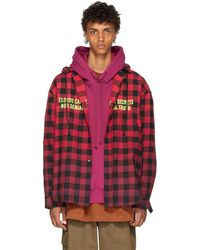 Juun.J - Red And Black Plaid Hooded Shirt - Lyst