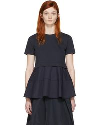 Jil Sander Navy - Navy Peplum T-shirt - Lyst