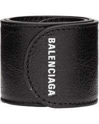 Balenciaga - Logo-print Textured-leather Snap Bracelet - Lyst