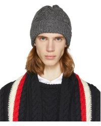 Thom Browne - Grey Aran Cable Hat - Lyst