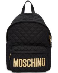 Moschino - Black Quilted Logo Backpack - Lyst