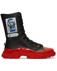 Raf Simons - Black And Red Adidas Originals Edition Detroit High Sneakers - Lyst