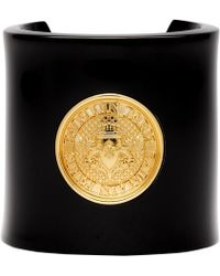 Balmain - Black And Gold Coin Cuff Bracelet - Lyst