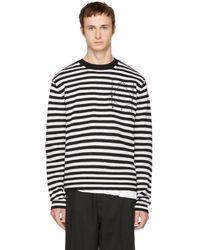 McQ - Black & White Striped Glyph Logo Sweater - Lyst
