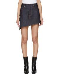 Helmut Lang - Indigo Asymmetric Raw Denim Miniskirt - Lyst