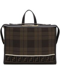 Fendi - Brown Forever Tartan Lui Briefcase - Lyst
