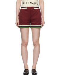 Gucci - Burgundy Webbing Tape Shorts - Lyst