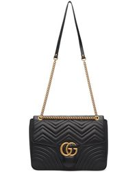 9d1c6ef5539a Gucci Black Medium GG Marmont 2.0 Bag in Black - Lyst