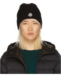 Moncler - Black Wool Knit Logo Beanie - Lyst