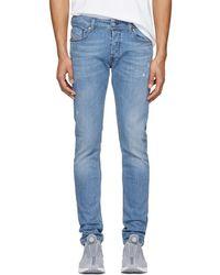 DIESEL - Blue Distressed Sleenker Jeans - Lyst