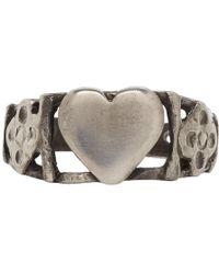 Saint Laurent - Silver Heart Ring - Lyst
