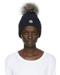 Moncler - Navy Fur Cable Pom Pom Beanie - Lyst