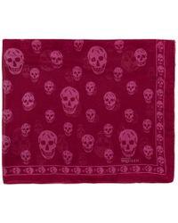 Alexander McQueen - Burgundy And Pink Silk Skull Scarf - Lyst
