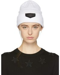 Givenchy - White Leather Logo Patch Beanie - Lyst