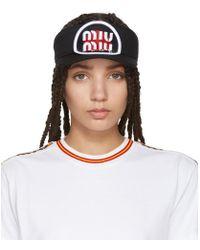 Miu Miu - Black Patch Visor - Lyst