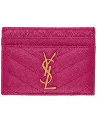 Saint Laurent - Pink Monogramme Card Holder - Lyst