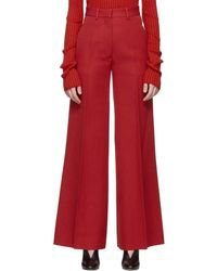 Victoria Beckham - Red High-waisted Wide-leg Pants - Lyst