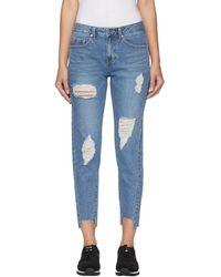 SJYP - Blue Unbalanced Hem Straight-leg Jeans - Lyst