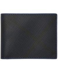Burberry - Navy London Check Hipfold Wallet - Lyst