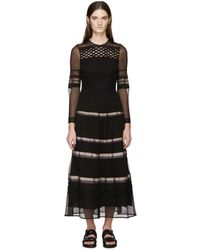 Burberry Prorsum - Black Silk Ribbon Striped Dress - Lyst