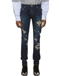 Balmain - Blue Slim Cut Ripped Jeans - Lyst