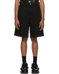 Raf Simons - Black Denim Patch And Tag Shorts - Lyst